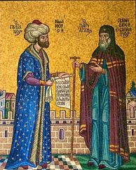 Mehmed II and Ecumenical Patriarch of Constantinople Gennadios.