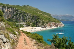 Gjipe Canyon is the meetingpoint of the Adriatic and Ionian Sea.