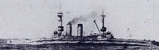 Cornwallis sinking in the Mediterranean Sea on 9 January 1917 after being torpedoed by the German submarine UB-32.