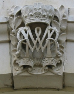 Joint monogram of William and Mary carved onto Hampton Court Palace