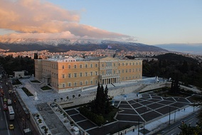 The building of the Hellenic Parliament in central Athens.