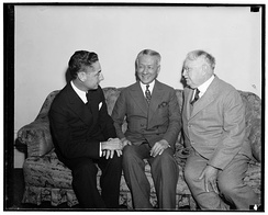 Philippine Commissioner J.M. Elizalde with future Philippine president Sergio Osmena and John W. Hausermann, (a Republican Party leader and goldmine owner in the Philippines), in 1938 or 1939, Library of Congress