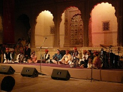 Group of Dharohar folk musicians performing in Mehrangarh Fort, Jodhpur, India