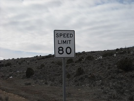 80 miles per hour speed limit sign on Interstate 15 south of Nephi, Utah