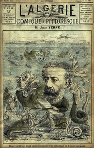 Caricature of Verne with fantastic sea life (1884)