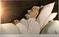 Jules Verne on his deathbed, 1905