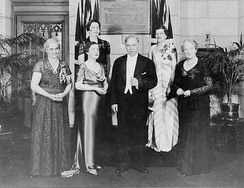 Unveiling of a plaque commemorating the Famous Five, June 11, 1938. (Front row, L–R): Muir Edwards, daughter-in-law of Henrietta Muir Edwards; J. C. Kenwood, daughter of Judge Emily Murphy; Mackenzie King; Nellie McClung. (Rear row, L–R): Senators Iva Campbell Fallis, Cairine Wilson.