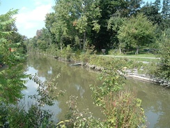 The Old Erie Canal and its towpath at Kirkville, New York, within Old Erie Canal State Historic Park