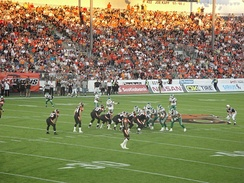 The Lions played their 2010 home games at Empire Field, here against the Roughriders