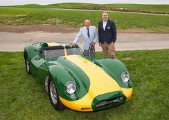 Lister CEO Lawrence Whittaker and Sir Stirling Moss with a Knobbly continuation car