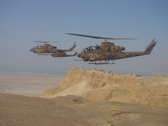 IAF Cobra gunships on military exercise. These attack helicopters were successfully employed against Syrian AFVs during the conflict.