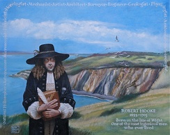 Memorial portrait of Robert Hooke at Alum Bay, Isle of Wight, his birthplace, by Rita Greer (2012)