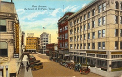 Mesa Avenue, the heart of El Paso, Texas (postcard, circa 1917)