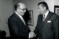 Former President Miguel Alemán Valdés meeting with Prime Minister Levi Eshkol, 1963.