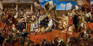 Prussian Homage by Jan Matejko. After admitting the dependence of Prussia to the Polish Crown, Albert of Prussia receives Ducal Prussia as a fief from King Sigismund I the Old of Poland in 1525