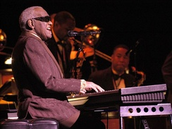 African American performing at a keyboard in concert