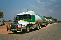 A BP road train in the Australian outback