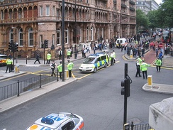Police cordon off Russell Square on 7 July 2005.