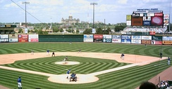 Sec Taylor Field at Principal Park, during a May 28, 2006, game against the Nashville Sounds. The Iowa Capitol is visible beyond the center-field wall.