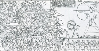 Scene from an Egyptian temple wall shows Ramesses' combined land and sea victory in the Battle of the Delta.