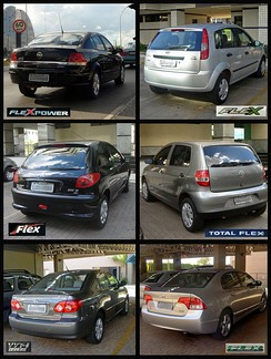 "Six typical flex-fuel models from several Brazilian carmakers, popularly known as ""flex"" cars, that run on any blend of hydrous ethanol (E100) and E20-E25 gasoline."