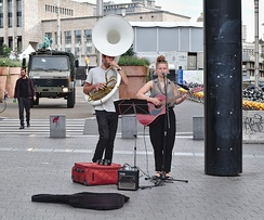 Street performer playing the sousaphone