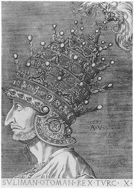 Agostino Veneziano's depiction of Suleyman the Magnificent. Note the 4 tiers on the helmet which he had commissioned from Venice (an untypical piece of headgear for an Ottoman sultan, which he probably never normally wore, but placed beside him when receiving visitors, especially ambassadors),[1] symbolizing his imperial power and excelling the 3-tiered papal tiara.[2]