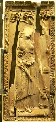 Ivory diptych of a priestess of Ceres, defaced and damaged by Christians