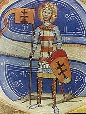 Image of the King Saint Stephen I of Hungary, from the medieval codex Chronicon Pictum from the 14th century.