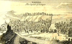 A 1717 illustration of Teflis by Joseph Pitton de Tournefort