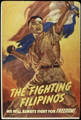 World War II propaganda poster depicting the Philippine resistance movement against the Japanese occupation of the Philppines.