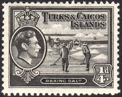Raking salt on a 1938 postage stamp of the islands