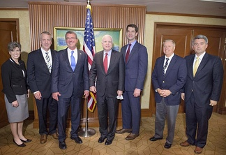 U.S. Secretary of Defense Ash Carter (third from left) and Senators Joni Ernst, Daniel Sullivan, John McCain, Tom Cotton, Lindsey Graham, and Cory Gardner attending the 2016 International Institute for Strategic Studies Asia Security Summit in Singapore