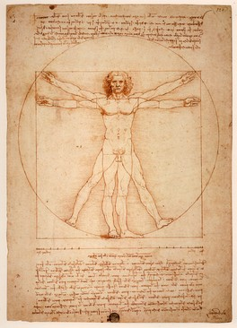 Vitruvian Man, Leonardo da Vinci's image is often used as an implied symbol of the essential symmetry of the human body, and by extension, of the universe as a whole.