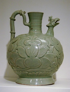 Song dynasty celadon porcelain with a fenghuang spout, 10th century, China