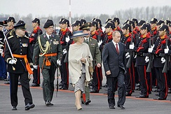 Queen Beatrix and President Vladimir Putin during his state visit to the Netherlands in 2005