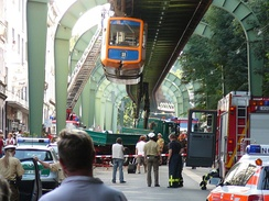 Aftermath of the collision with a crane, near Hammerstein station, 5 August 2008