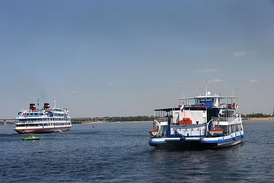 Cruise ships on the Volga.