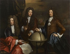 Painting by Godfrey Kneller showing Orford (left) with Admiral John Benbow and Admiral Ralph Delaval