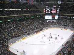 The University of North Dakota and St. Cloud State University during the WCHA Final Five at the Xcel Energy Center.