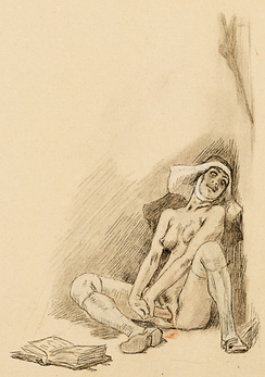 Religious ecstasy illustrated as masturbation by Félicien Rops (1833–1898)
