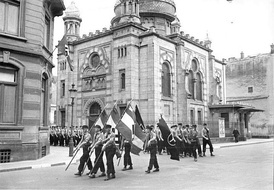 A Nazi parade by the Synagogue in Luxembourg in 1941. It was destroyed in 1943.