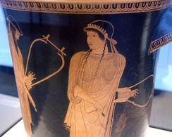Attic red-figure kathalos painting of Sappho from c. 470 BCE[45]
