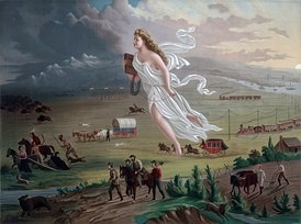 "The right side of the American Progress painting by John Gast (1872) shows white settlers and modern technology arriving and the area is depicted in brightness; the left side of the painting shows indigenous people and wildlife leaving and the area is depicted in darkness; and in the middle there is an angelic female representation of ""manifest destiny"", the concept and agenda that promoted westward territorial expansion of the United States as a necessity"