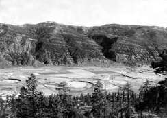 This aggradational floodplain of a small meandering stream in La Plata County, Colorado, is underlain by silt deposited above a dam formed by a terminal moraine left by the Wisconsin Glacier.