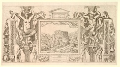 Etching by Antonio Fantuzzi, copying a drawing for this stucco and paint surround at the Palace of Fontainebleau