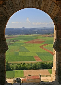 The Meseta Central is a large plateau ranging a considerable part of the region of Castile. In the image a landscape of the Meseta Central viewed from the castle of Gormaz.