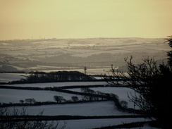 The Torridge Bridge in Bideford, surrounded by snow.
