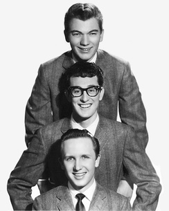 Buddy Holly and the Crickets in 1957 (top to bottom: Allison, Holly and Mauldin)