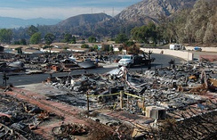 The remains of the Oakridge mobile home park in Sylmar. 480 of the park's 600 mobile homes were burned in the 2008 Sayre wildfire. The homes in the background that did not sustain fire damage became uninhabitable due to the lack of utilities.
